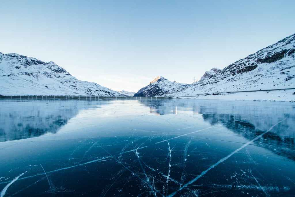 Mountains and icy lake, the key to happiness