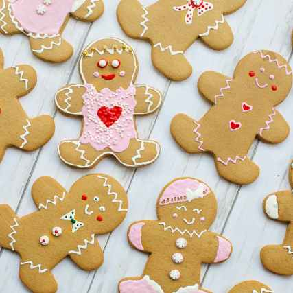 top view of gingerbread cookies laid flat on a wooden table